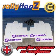 CORSA C (2000-2007) WHITE MUDFLAPS KIT (Logo Purple)